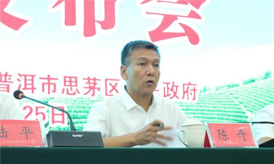 思茅区委副书记、区人民政府区长陈奇在发布会现场讲话
