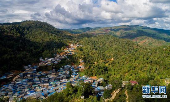 6月13日无人机拍摄的布朗山布朗族乡主要茶叶产区老曼峨村。 新华社记者 胡超 摄