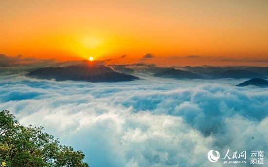 云南宁洱:普洱山迎来今年首次云海 宛如仙境(饶雪松 摄)