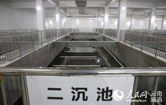 位于地下二层的二沉池。(人民网 虎遵会 摄)