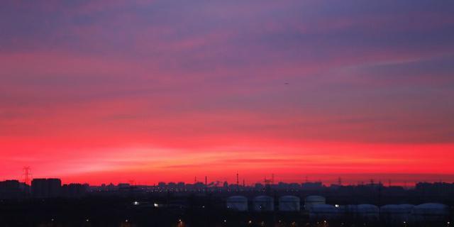 北京今晨的灿烂朝霞