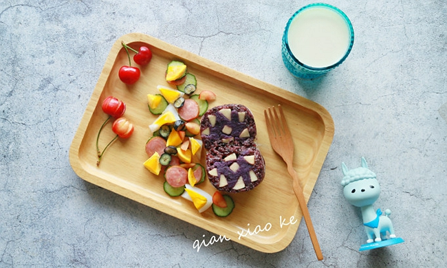 【奶香紫薯夹心饭团】打造快手营养早餐