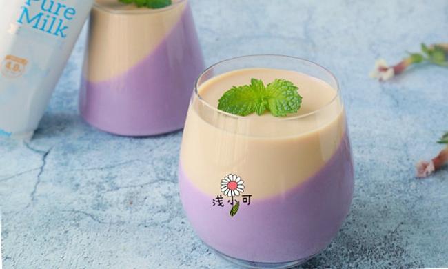 营养味美【奶香紫薯双色奶冻】