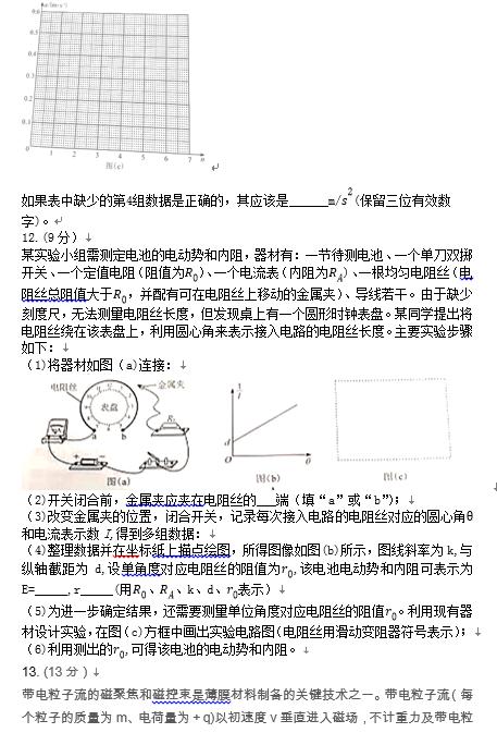 2021高考物理真题及参考答案(新高考湖南卷)