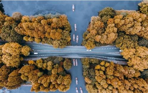 空中俯瞰西湖边杨公堤
