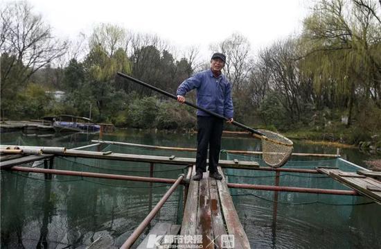 西湖渔老大老董在捞鱼。