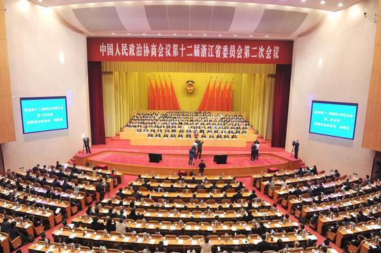 浙江省政协十二届二次会议闭幕式。张茵 摄