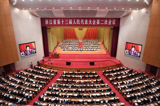 浙江省十三届人大二次会议。王刚 摄