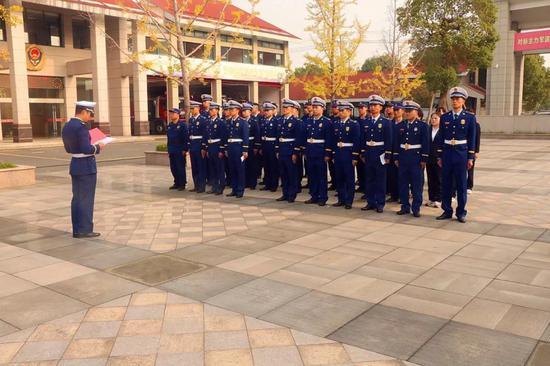 上虞消防举行升国旗仪式暨国旗下讲话
