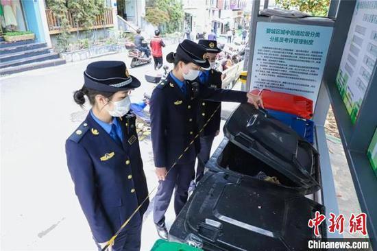 女子巡逻队队员检查垃圾分类工作。婺城宣传部提供