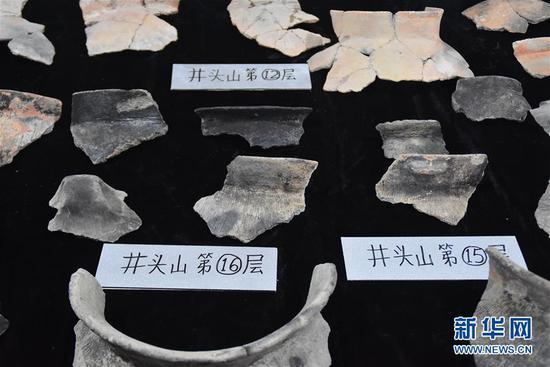 5月30日拍摄的井头山遗址发掘的距今8000年左右的陶片。 新华社记者 郑梦雨 摄