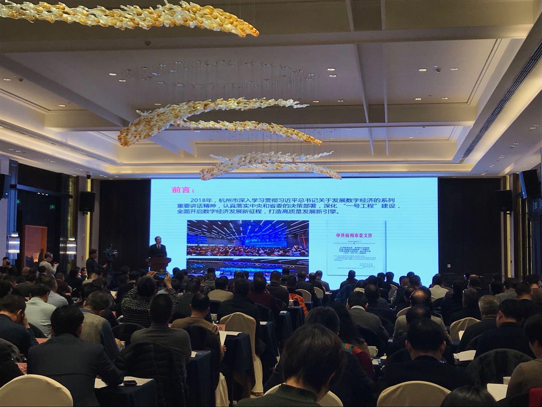 杭州市经信局局长夏积亮发言。