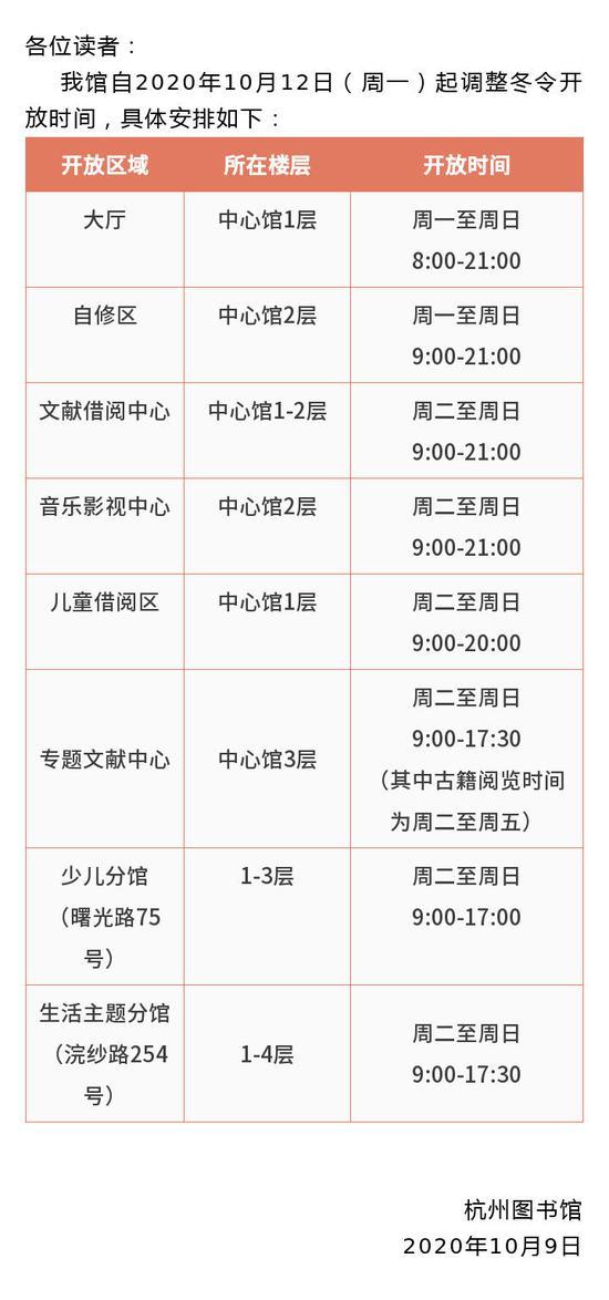 杭州图书馆自2020年10月12日起调整冬令开放时间