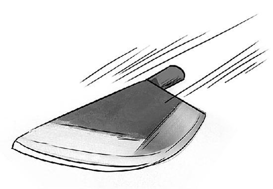 迎面飞来的斩骨刀   (据程永跃肩膀上的执法记录绘制   王璐 绘)