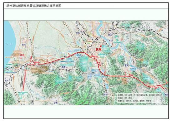 湖州至杭州西至杭黄铁路连接线方案示意图