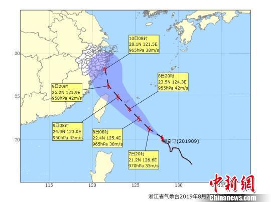图为台风路径图。浙江省气象台