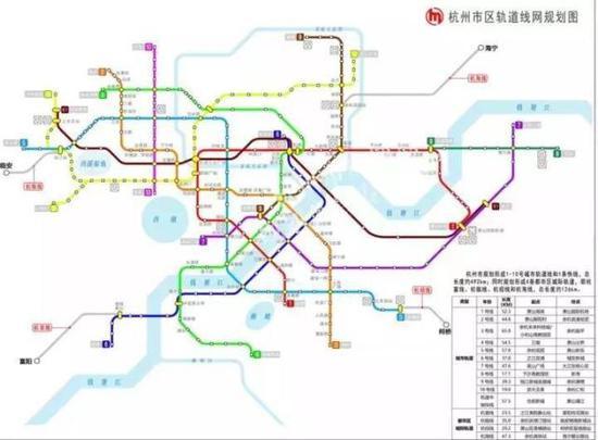 绿色线路为杭州地铁4号线一期和二期