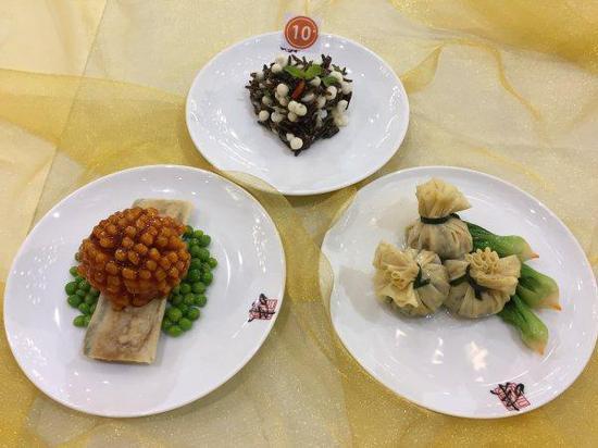 杭州市首届老年食堂厨艺大赛冠军菜品(茄汁鱼球套餐)。