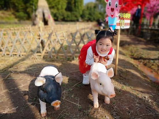 小游客与小猪合影。建宣 摄