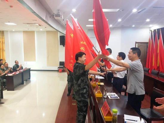 动员大会授旗 安文街道提供