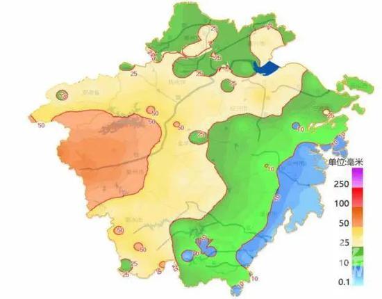 23 日 8 时至 24 日 7 时降雨量分布图