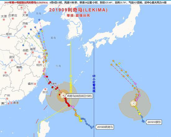"""图为:台风""""利奇马""""路径图。台州海事局供图"""