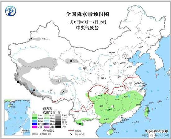 全国降水量预报图(1月6日08时-7日08时)