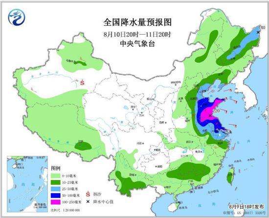 图4 全国降水量预报图(8月10日20时-11日20时)