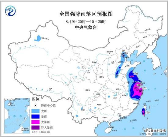图2 全国强降雨落区预报图(8月9日20时-10日20时)