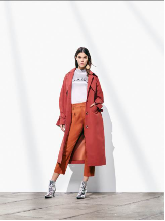 Etam Paris 秋季铁锈红风衣