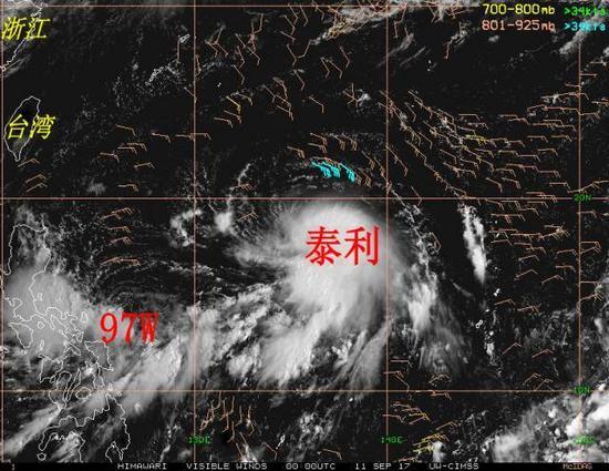 """▲目前""""泰利""""和97W周围风场中低层高空风场分析"""