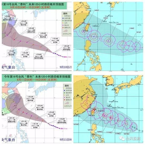 """▲中央气象台9月10日15时(左上)和11日05时(左下)发布的""""泰利""""路径概率预报图和美国联合台风警报中心9月9日08时(右上)和11日02时发布的""""泰利""""后期路径概率图。"""