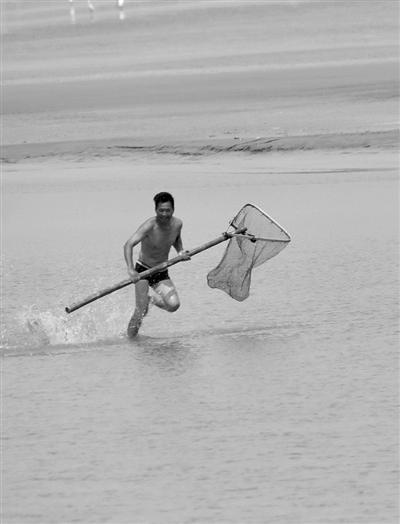 大潮来临前,抢鱼人在钱塘江流化沟里抓上来两条大包头鱼。 摄影 徐瑞金