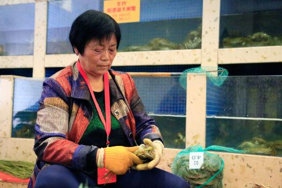 图为:捆蟹工正在捆起一只大闸蟹。 王远 摄