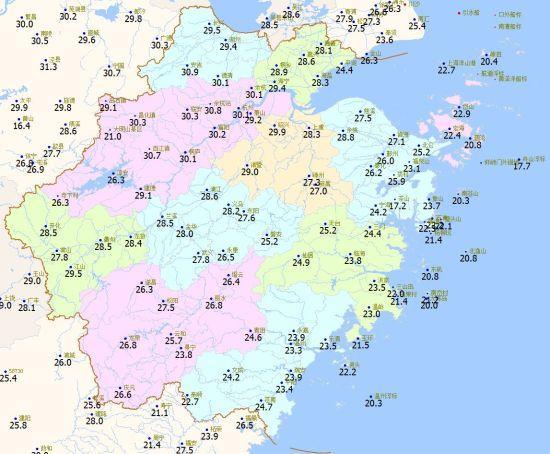 4月3日08时至16时浙江日最高气温分布图 浙江天气网