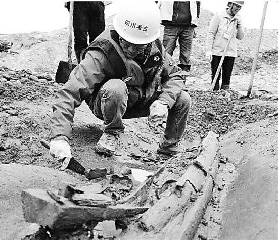 四川江口沉银遗址考古现场。