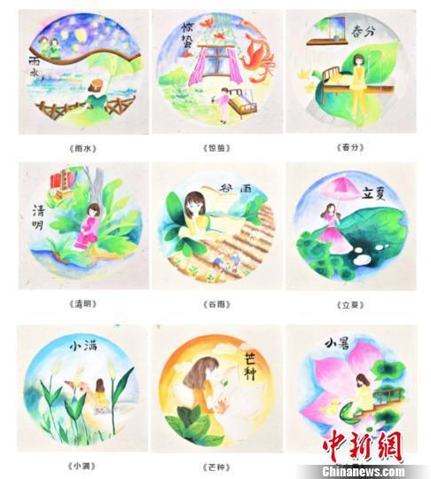 图为:苏轩奕画的二十四节气图。受访者供图