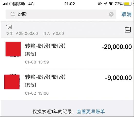 郑女士爱人的支付宝截图,两次转账给岳盼盼29000元。