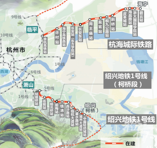 本月底 杭州通往海宁 绍兴的两条城际铁路即将开通