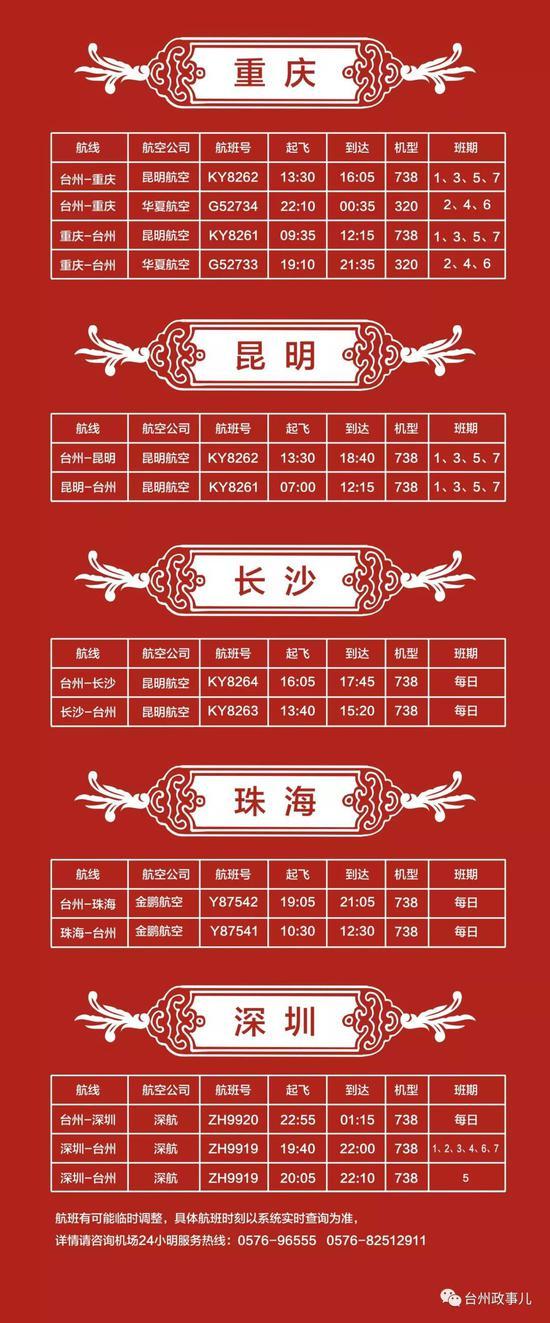 台州夏季航班表出炉 部分航点机票远低于动车