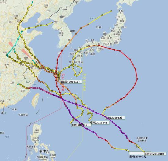 2018年宁波影响台风路径