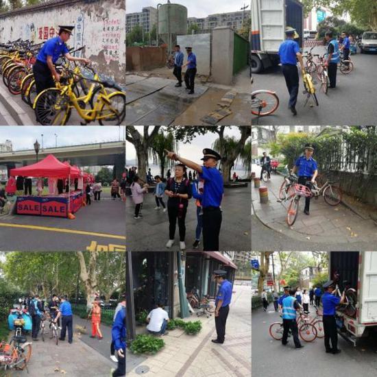 杭州城管系统工作人员假期忙碌在街头、景点。(杭州市城管委供图)