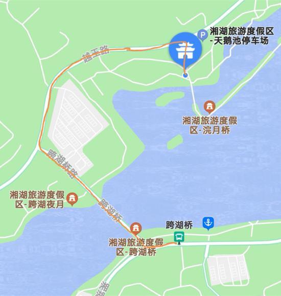 △ 去天鹅池的步行路线