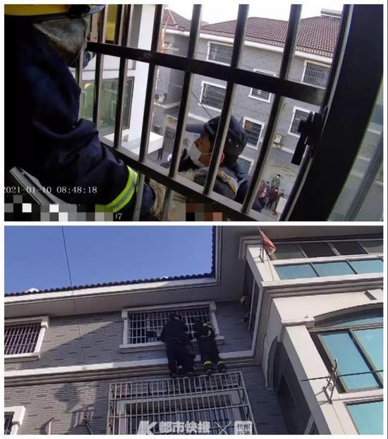 杭一辅警徒手爬上三楼 用自己的身体紧紧护住跳楼女子