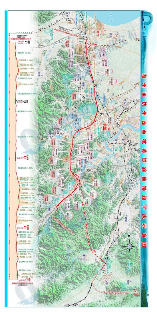 湖州至杭州西至杭黄高铁连接线平纵示意图。湖州宣传部提供