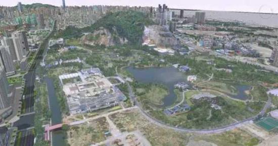 三维虚拟城市中的杨府山公园