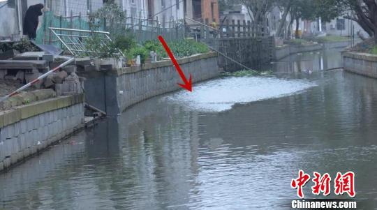 图为施晶晶跃入河水的地点。 颜晗 摄