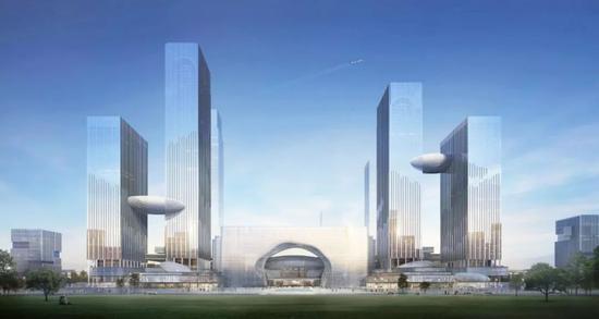 杭州西站枢纽站房(实施方案)暨站城综合体(概念方案)南立面效果图