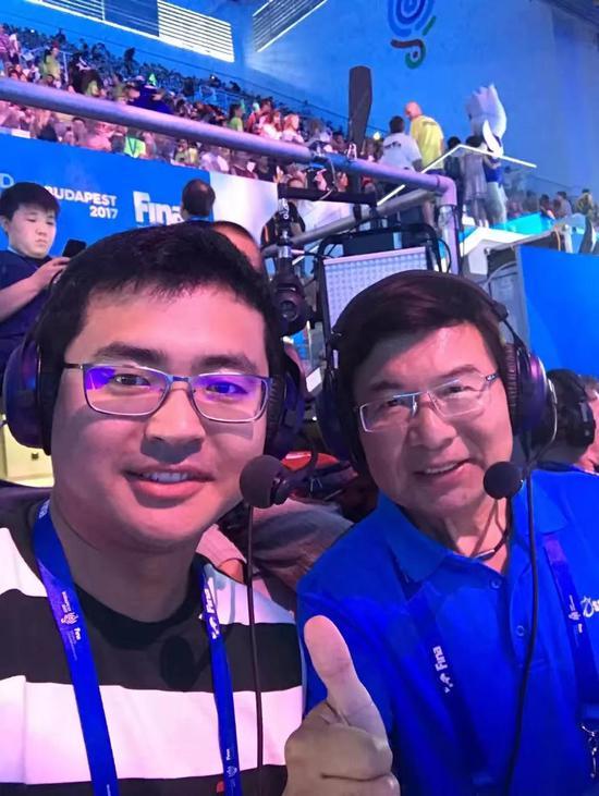 2017布达佩斯游泳世锦赛电视转播台上的吴鹏和著名解说员韩乔生