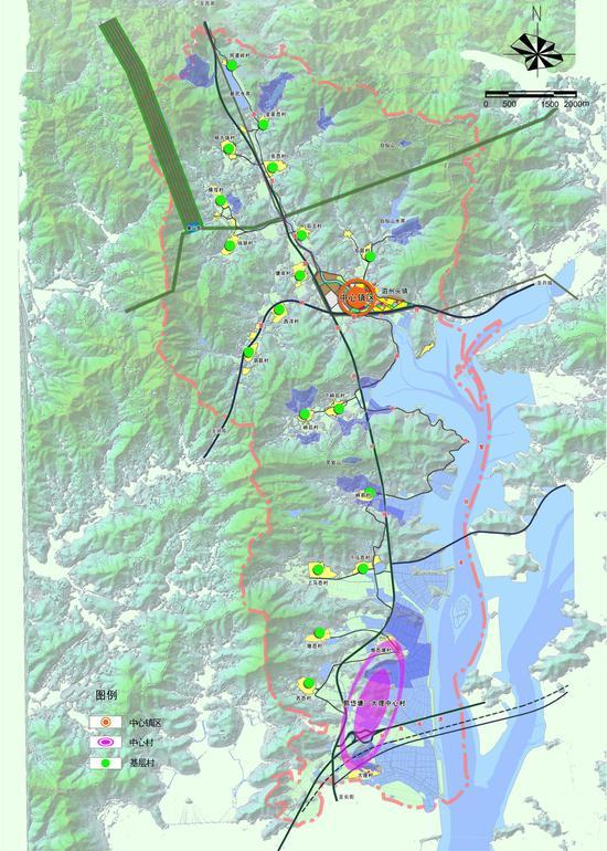 空间规划结构    一轴:为沿规划泗长线由北向南的发展轴,把全镇